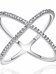 cheap -white rose gold plated x ring cz criss cross crossover stackable ring for women size 6 7 8 9 10