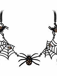 cheap -halloween tarantula spider web necklace clear austrian crystal gold-tone