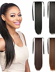 """cheap -straight long ponytail hair extensions - remeehi synthetic fiber tie up pony tails clip in hairpiece for girls lady women(18""""natural black)"""