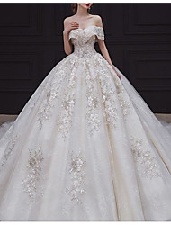cheap -Ball Gown Wedding Dresses Off Shoulder Court Train Lace Tulle Sequined Sleeveless Formal Luxurious with Embroidery Appliques 2020