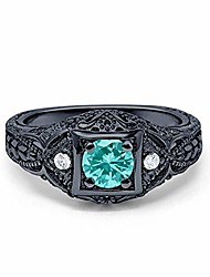 cheap -black tone, simulated paraiba tourmaline cz size-11 art deco antique style wedding engagement ring round simulated cubic zirconia 925 sterling silver