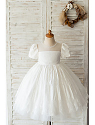 cheap -Ball Gown Knee Length Wedding / Birthday Flower Girl Dresses - Lace Short Sleeve Jewel Neck with Beading