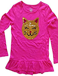 cheap -flippy sequin cat face pink long sleeve shirt for girls (large 10-12)