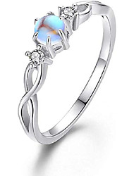 cheap -moonstone ring 925 sterling silver rainbow moonstone infinity ring for women promise rings moonstone jewellery gifts for engagement anniversary wedding ring (a-silver, 7)