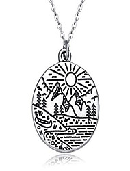 cheap -mountain life necklace for women, ideal mountains jewelry gift for nature, adventure, and outdoor lovers (silver tone)