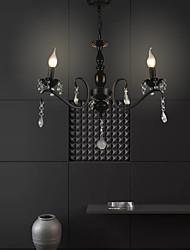 cheap -3-Light 35 cm Chandelier Metal Black Chic & Modern 110-120V 220-240V