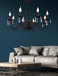 cheap -8-Light 77 cm Crystal Candle Style Chandelier Metal Black Chic & Modern 110-120V 220-240V
