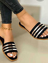 cheap -Women's Slippers & Flip-Flops Outdoor Slippers Beach Slippers Flat Heel Open Toe Casual Daily PVC Sequin Solid Colored Black