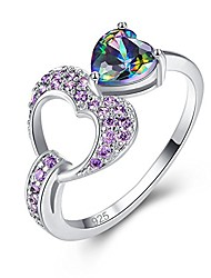 cheap -ladies' 925 sterling silver created 6x6mm heart cut rainbow topaz filled gift rings