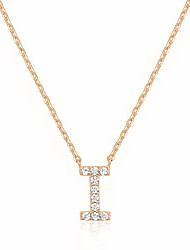 cheap -14k rose gold plated cubic zirconia initial necklace   letter necklaces for women   i initial