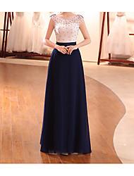cheap -Sheath / Column Minimalist Elegant Wedding Guest Formal Evening Dress Illusion Neck Sleeveless Floor Length Chiffon with Beading 2021