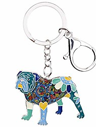 cheap -weveni enamel alloy english bulldog bull terrier dog key chain ring new fashion jewelry for women bag charm accessories (blue)