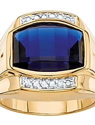 cheap -men's lab created blue sapphire and diamond 18k yellow gold-plated ring size 9