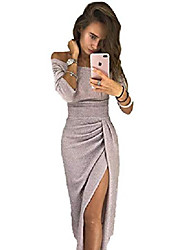 cheap -ladies off-the-shoulder dress as evening dress party dress ball gown maxi dress elegant, shiny and high cut