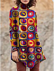 cheap -Women's T Shirt Dress Tee Dress Short Mini Dress Red Yellow Green Long Sleeve Color Block Geometric Patchwork Print Fall Winter Turtleneck Casual 2021 S M L XL XXL 3XL 4XL 5XL