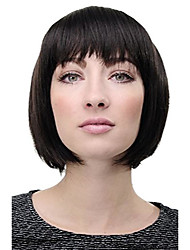 cheap -- lady quality wig short page bob fringe bangs dark brown 703-3