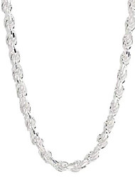 """cheap -sterling silver diamond cut rope chain necklace- 1.5mm-7.5mm -made in italy - 7""""-30"""" (20, 5.5mm)"""
