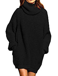 cheap -women's long sleeve casual loose oversized knit turtleneck pullover sweater dress with pockets s black