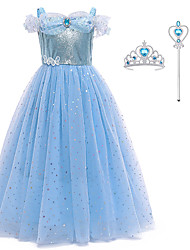 cheap -Princess Dress Cosplay Costume Costume Girls' Movie Cosplay Euramerican New Year's Blue Dress Headwear Wand Christmas Halloween Carnival Polyester / Cotton Polyester