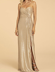 cheap -A-Line Off Shoulder Floor Length Georgette Bridesmaid Dress with Split Front / Ruching