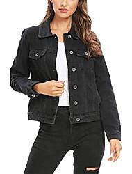 cheap -trucker jacket women jean jacket women vintage washed long sleeve classic jean jacket (light blue washed, l)