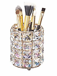 cheap -aila makeup brush holder organizer golden crystal bling personalized gold comb brushes pen pencil storage box container (crystal pot)