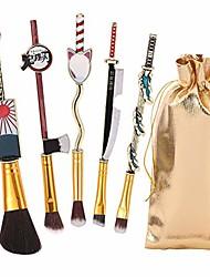 cheap -anime naruto makeup brush set, metal kunai prop konoha leaf village shinobi handle makeup brushes, 5pcs japanese anime makeup brush set,anime series makeup brushes gift for fans