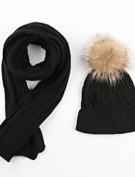cheap -Women's Hiking Cap 2 PCS Winter Outdoor Warm Soft High Elasticity Thick Neck Gaiter Neck Tube Skull Cap Beanie Solid Color Fleece Black for Climbing Camping / Hiking / Caving Traveling