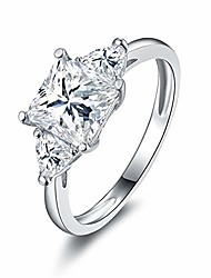cheap -925 sterling silver princess cut cubic zirconia cz 3-stone engagement wedding ring size 6.5