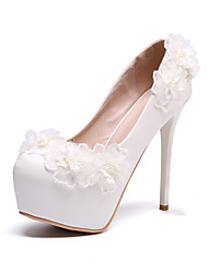 cheap -Women's Wedding Shoes Platform Round Toe Wedding Pumps Vintage Sexy Roman Shoes Wedding Party & Evening PU Pearl Satin Flower Lace Solid Colored Color Block White