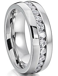 cheap -nl19 mens womens 6mm titanium stainless steel high polished 18k gold plated channel set cubic zirconia cz promise engagement band unisex gold wedding ring comfort fit, size 6-13 (10, silver)