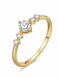 cheap -14k solid yellow gold wedding engagement eternity bridal ring for women, real gold dainty 5a cubic zirconia simulated diamond anniversary band jewelry, size 5