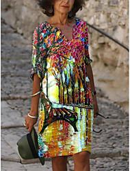 cheap -Women's A-Line Dress Knee Length Dress - 3/4 Length Sleeve Print Print Summer V Neck Elegant Casual Loose 2020 Blue Red Light Blue S M L XL XXL 3XL 4XL 5XL