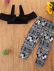 cheap -Kids Girls' Clothing Set Solid Colored Sleeveless Cotton Casual Black Basic Regular Regular