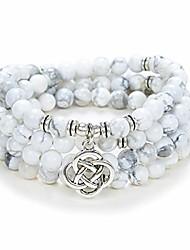 cheap -108 mala meditation beads yoga bracelet or necklace with celtic knot charm (white howlite)