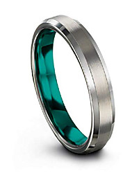 cheap -tungsten carbide wedding band ring 4mm for men women teal interior with grey exterior bevel edge brushed polished comfort fit anniversary size 7