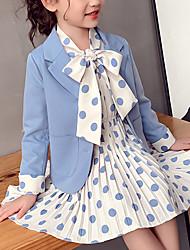 cheap -Kids Girls' Clothing Set Polka Dot Long Sleeve Pleated Bow Blue Blushing Pink Streetwear