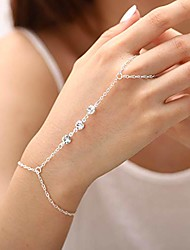 cheap -crystal hand chain rhionestone finger ring bracelets beaded slave bracelet for women and girls (silver)