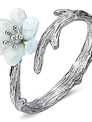 cheap -925 sterling silver cherry blossoms ring sakura jewelry flower vine twined finger adjustable open tail
