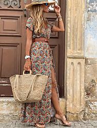 cheap -Women's Swing Dress Maxi long Dress Red Brown Short Sleeve Print Split Ruffle Button Spring Summer V Neck Vintage 2021 S M L XL XXL 3XL