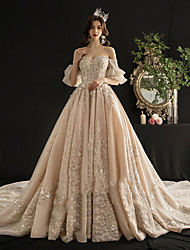 cheap -Ball Gown Wedding Dresses Off Shoulder Court Train Lace Tulle Half Sleeve Country Romantic with Crystals Ruffles Embroidery 2020