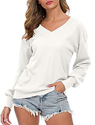 cheap -Ladies V-Neck Long Sleeve Casual Waffle Knit Tops Off Shoulder Sweater (EU 48-50, White)
