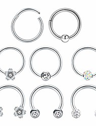 cheap -16g septum jewelry hinged clicker tragus daith helix cartilage earrings hoop sleeper earring stainless steel lip ring septum clicker silver rose gold