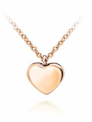 cheap -womens stainless steel love cute heart shape small dainty delicate cable chain charm shiny gift vintage fashion girls jewelry accessory hanging pendant necklace, pink rose gold 18 inch