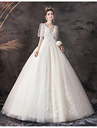 cheap -Princess Ball Gown Wedding Dresses V Wire Floor Length Lace Tulle Short Sleeve Formal Romantic Luxurious with Appliques 2020
