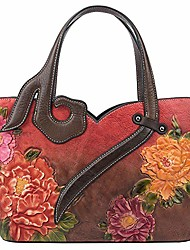 cheap -tote handbags for women genuine leather embossing floral pattern painted crossbody shoulder bags bat003-a