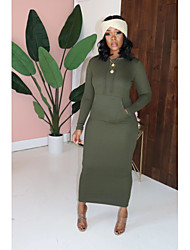 cheap -Plus Size Women's A-Line Dress Midi Dress Long Sleeve Solid Color Patchwork Spring &  Fall Casual Spandex Regular Fit