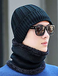 cheap -slouchy beanie hats winter warm fleece soft scarf sets unisex daily knit skull cap baggy hat ski cap soft cold weather toboggan caps warm thick sports cap for travling cycling skiiing camping
