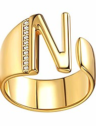 cheap -18k gold plating initial rings for women men aaa+ cz open statement ring alphabet letter a to z adjustable jewelry