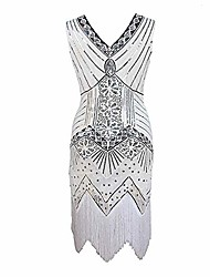 cheap -women retro v neck 1920s evening dress sequin inspired beaded flapper evening prom party dresses with tassel (white, s)